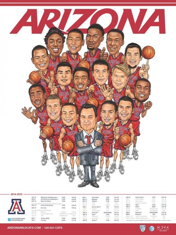 arizona wildcats basketball poster | Arizona Basketball Team Poster Is A Work Of Cartoon Art