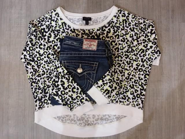 How adorable is this outfit? SO freakin' cute! This little #TrueReligion cheetah print cropped sweater is so cute with jeans or a flirty little skirt - Find it at #PlatosClosetBrampton!
