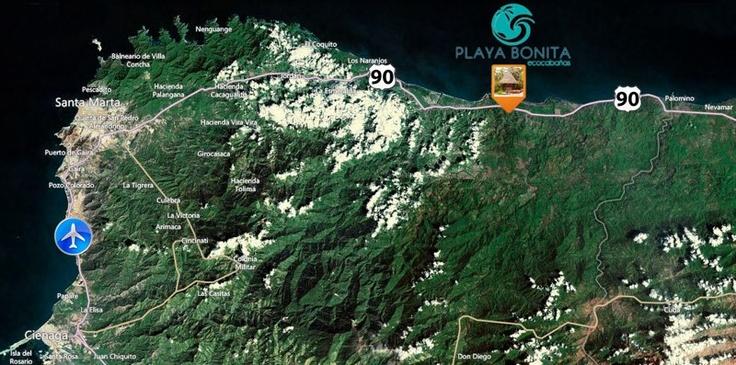 Este es el mapa para que llegues a nuestro refugio de paz… Playa Bonita