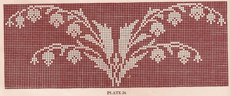 Vintage 1920s Filet Crochet and Cross Stitch Patterns Lilies of the Valley