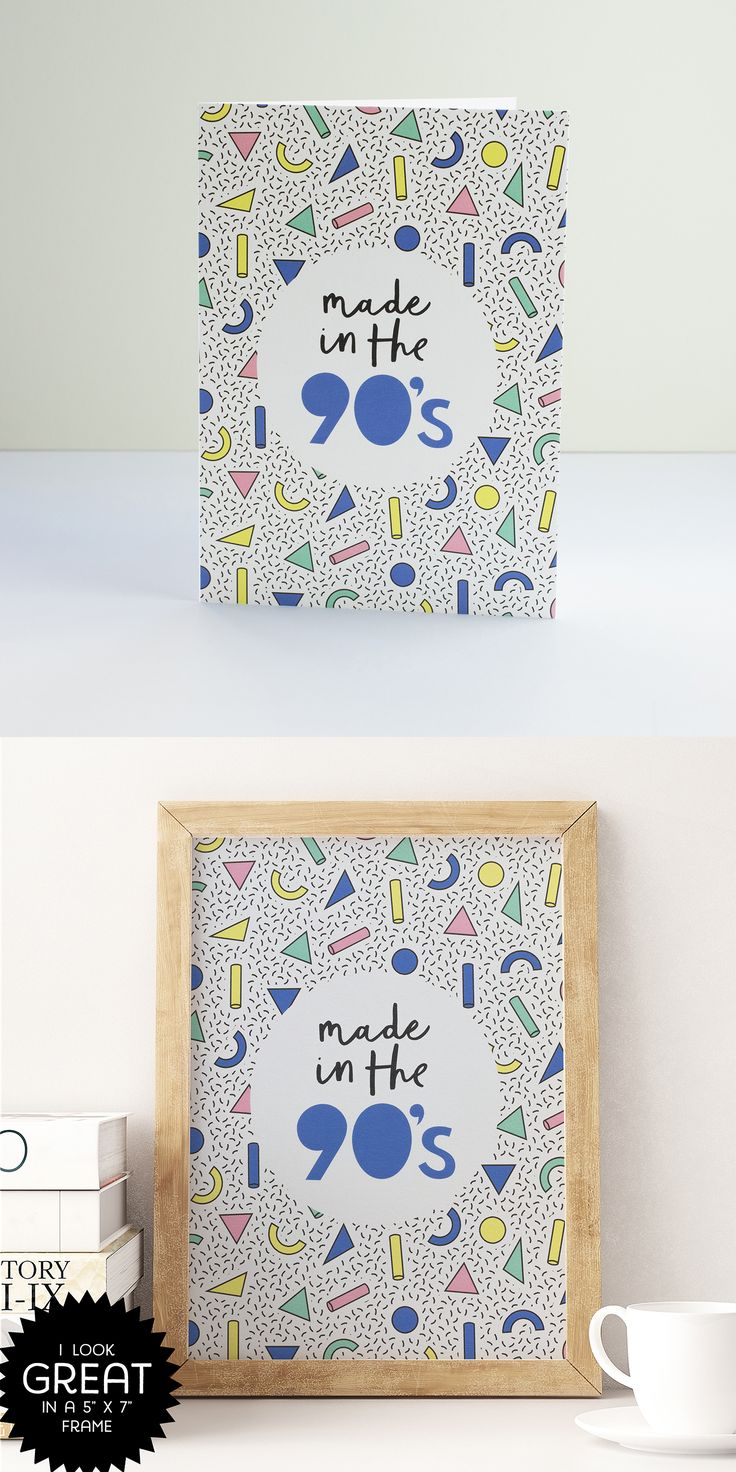 PAPERPAPER | 'Made in the 90s' greetings card - looks great in a frame! Ideal for anyone born in the 1990s #90s #1990s #90sstyle #patternprint #paperpaper