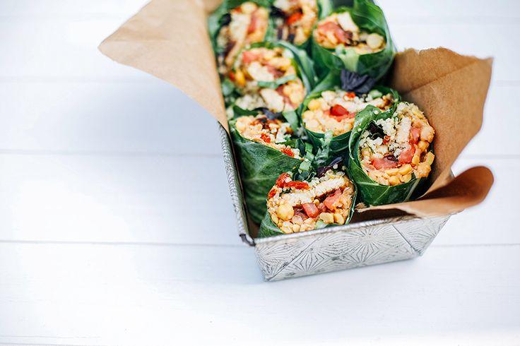 super-vegan protein power tomato basil collard wraps // @thefirstmess