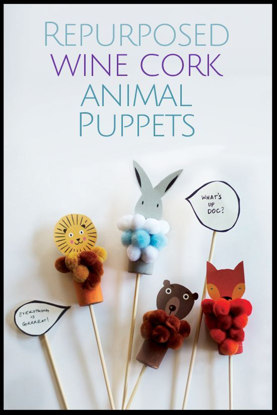 Repurposed Wine Cork Animal Puppet - beautiful DIY craft for kids and you to make together and then play with afterwards