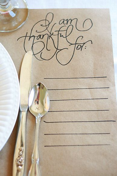 Try your hand at a meaningful DIY, like this handmade placemat, from Clarita at Skies of Parchment, that gives guests the chance to reflect on what they're thankful for before digging into dinner.   - ELLEDecor.com