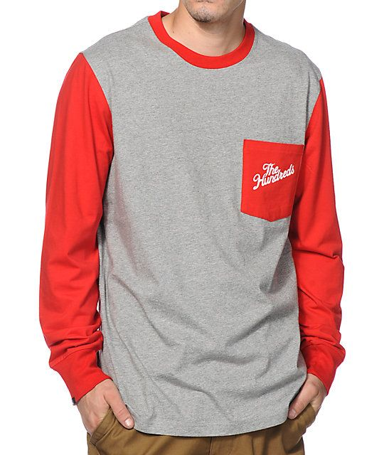 Get two tone style with red contrasting long sleeves with a solid red left chest pocket that shows off a white The Hundreds slant script graphic.