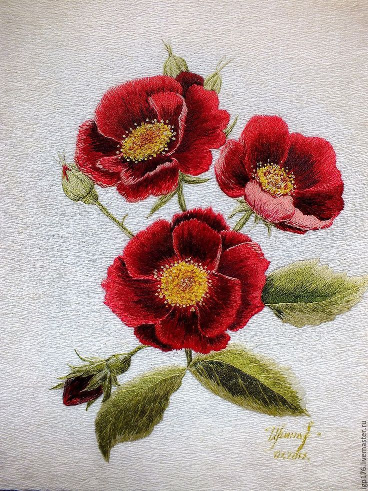 "Buy ""Gallic roses"", an embroidered picture, art surface - burgundy, embroidery, artistic surface"