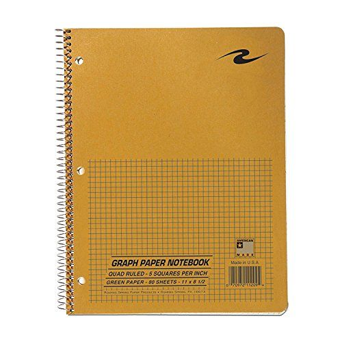 Roaring Spring Paper Products Graph Notebook, One Subject, 11 x 8.5 Inches, 80 Sheets, 5 x 5 Inches Graph Ruled, Assorted Color Covers (11209) 2-Pack