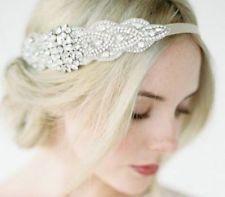 Bridal Rhinestone Diadema De Cinta De Raso Boda Cabeza Pieza Casco Banda