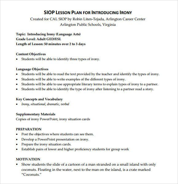 10 Siop Lesson Plan Templates Doc Excel Pdf Lesson Plan
