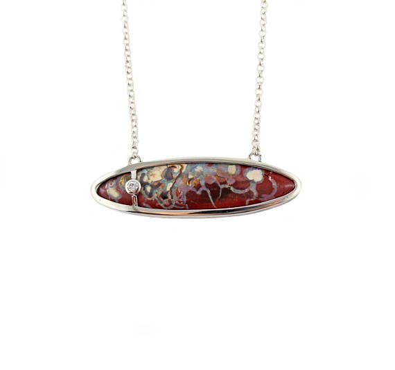 Australian boulder and diamond solid silver pendant necklace