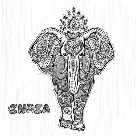 vector vintage illustration éléphant indien | dessins