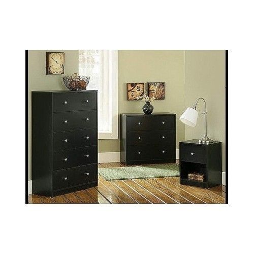 Contemporary Bedroom Furniture Set 3 Piece Black Dresser Chest Nightstand Wooden #StudioCollection #Modern