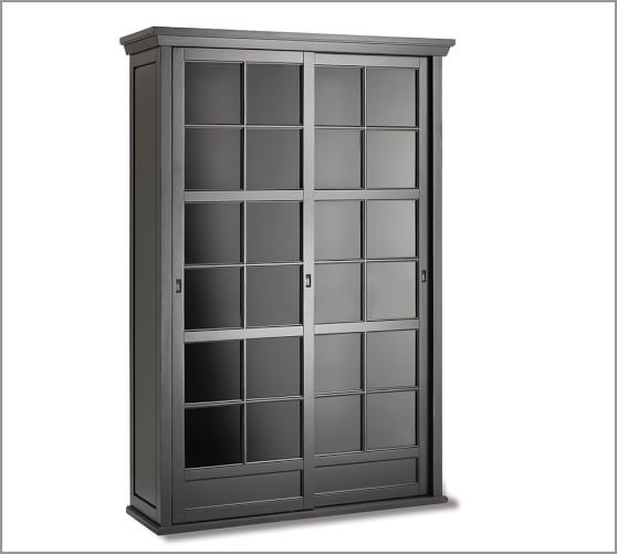 "Garrett Glass Cabinet 78"" high x 52.5"" wide x 18"" deep | black | Pottery Barn $1699"