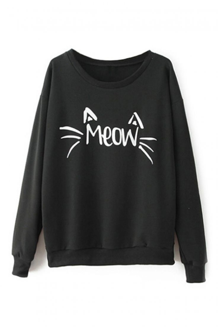 Buy Cat Face Print Black Sweatshirt from abaday.com, FREE shipping Worldwide - Fashion Clothing, Latest Street Fashion At Abaday.com