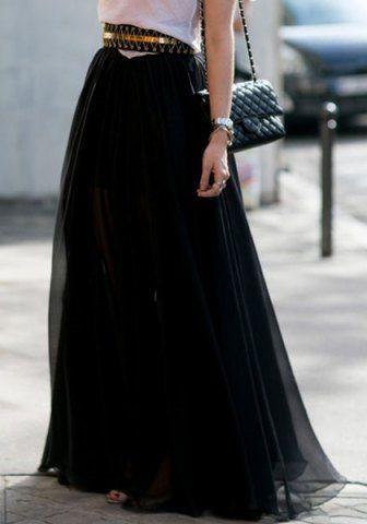 Stylish High-Waisted Pure Color A-Line Women's Maxi SkirtSkirts | RoseGal.com