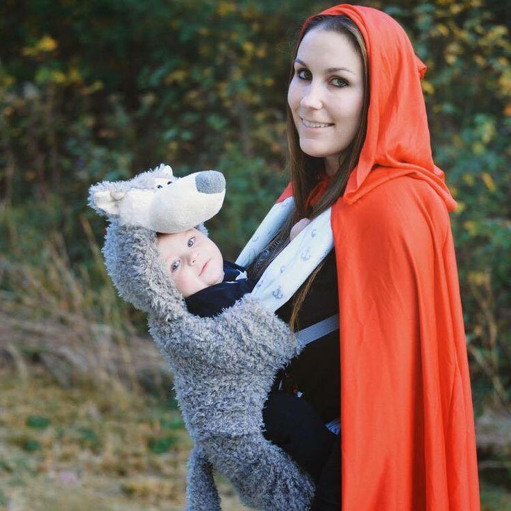 Mommy and baby little red riding hood and wolf costume