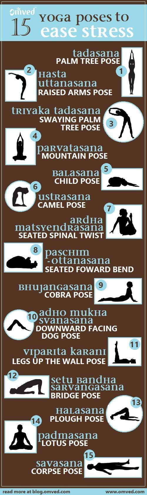 Top15 stress relieving yoga poses - Although all yoga asanas reduce stress and tension, increase strength and balance, increase flexibility and lowered blood pressure, there are some poses that reign supreme. Practise these poses with deep breathing for m http://www.yogaweightloss.net/best-yoga-position/