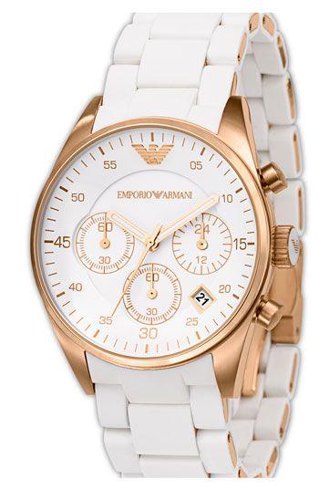 Emporio Armani Ladies' Round Stainless Steel Chronograph Watch | Nordstrom