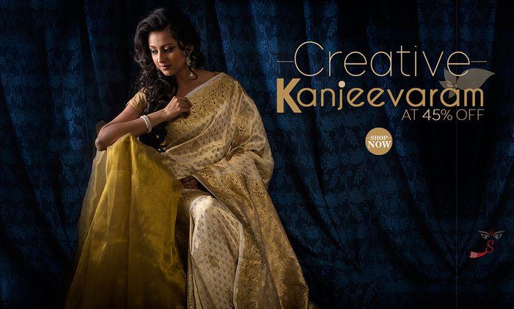 Exclusive Premier: #Kanjeevaram hand-work #sarees at 45% OFF!