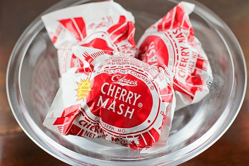 Chases Cherry Mash! Made in St. Joseph, Mo. Have you ever tried melting them over ice cream?