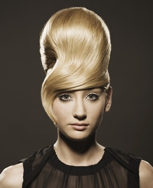 A long blonde straight updo quirky avant garde Womens hairstyle by Samantha Blues