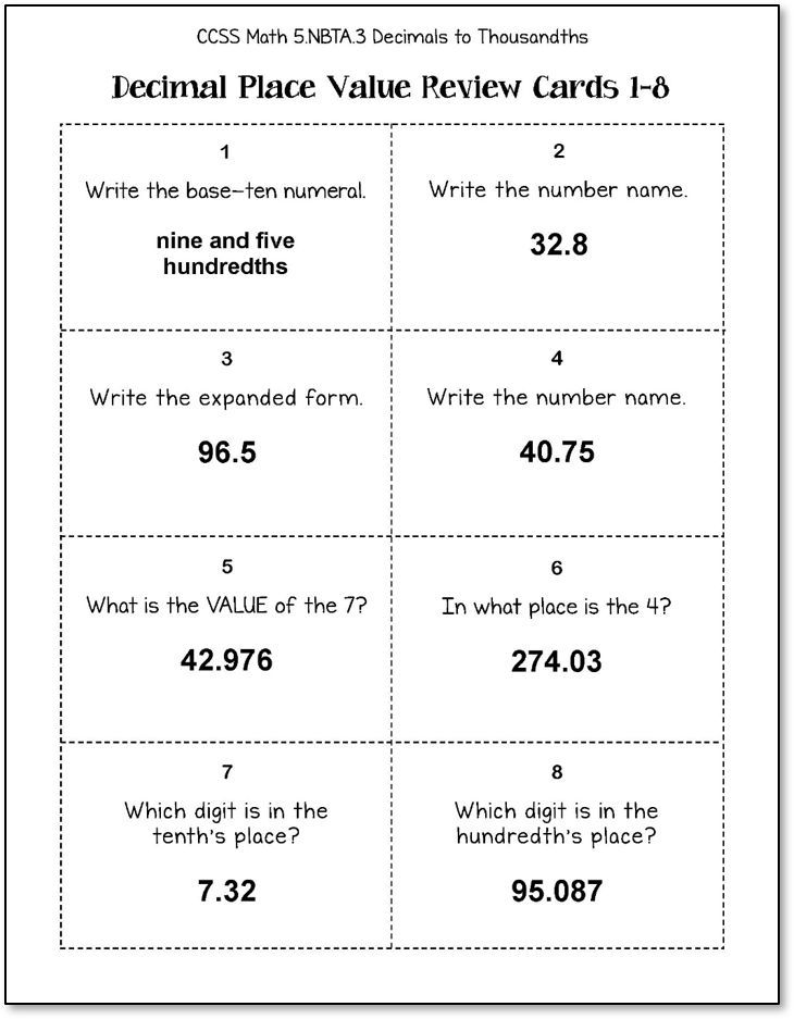 Decimal Place Value Task Cards For Reviewing Tenths Hundredths And Thousands 5th Grade Ccss 5 Nbta 3 Place Value With Decimals Task Cards Decimals Reading decimal numbers worksheet