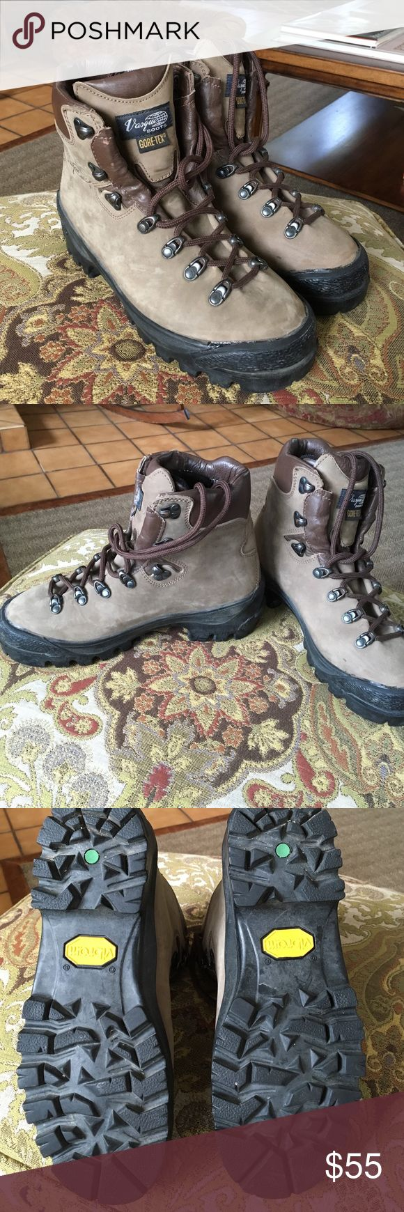 Vasque trail hiking boots with Gore-Tex Mint condition. Stone color leather. Only two hikes on these treads! Ladies hiking boot. Fully lined Gore-Tex. 100% Waterproof. Vibrant soles. Laces are also like new. Vasque Shoes