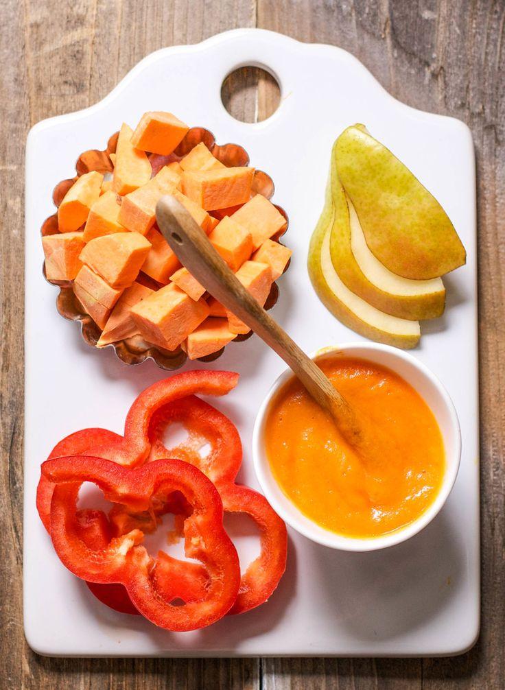 Sweet Potato + Pear + Red Pepper Puree - Organic Baby Food Recipe.