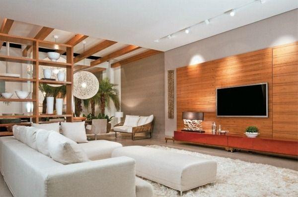 modern home living room sofa white wall furnishings ideas carpet holzwand