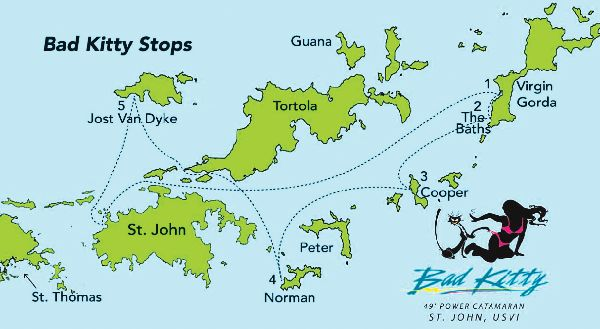 British Virgin Islands Boat Tour Map from the Bad Kitty