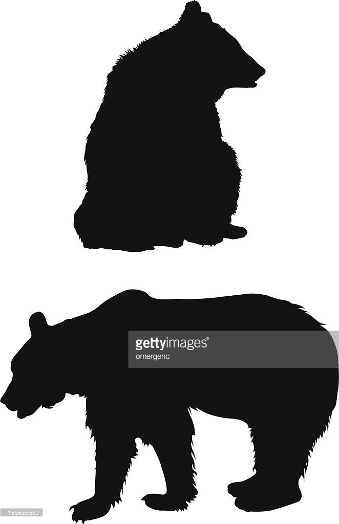 Vector Art A Silhouette Of A Bear Sitting And Standing Bear Silhouette Silhouette Bear Vector