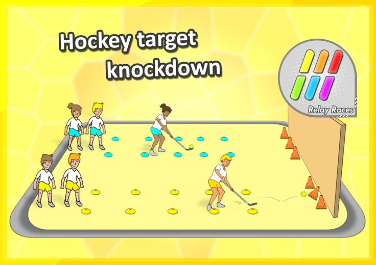 Fun RELAY RACE activities • Hockey target knockdown • A fast-paced station activity for you elementary school students! Check out the whole pack with over 60 stations.