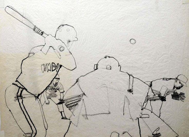 Bernie Fuchs (1932 - 2009), The Umpire's View graphite on tissue