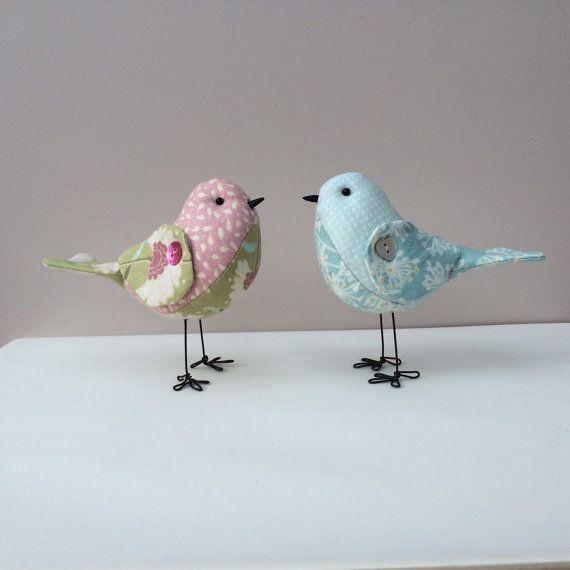 Handmade fabric bird, model, Tilda duck egg blue print fabric soft sculpture