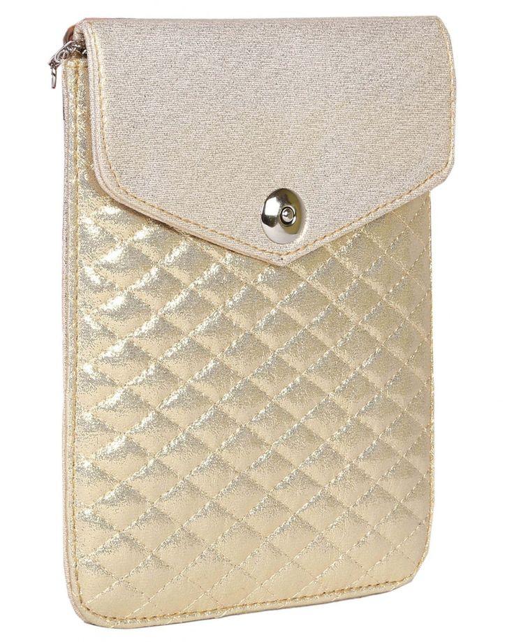 Gold Color Plain Pu Sling Bag, PurpleYou gold color plain sling bag made of polyurethane material.