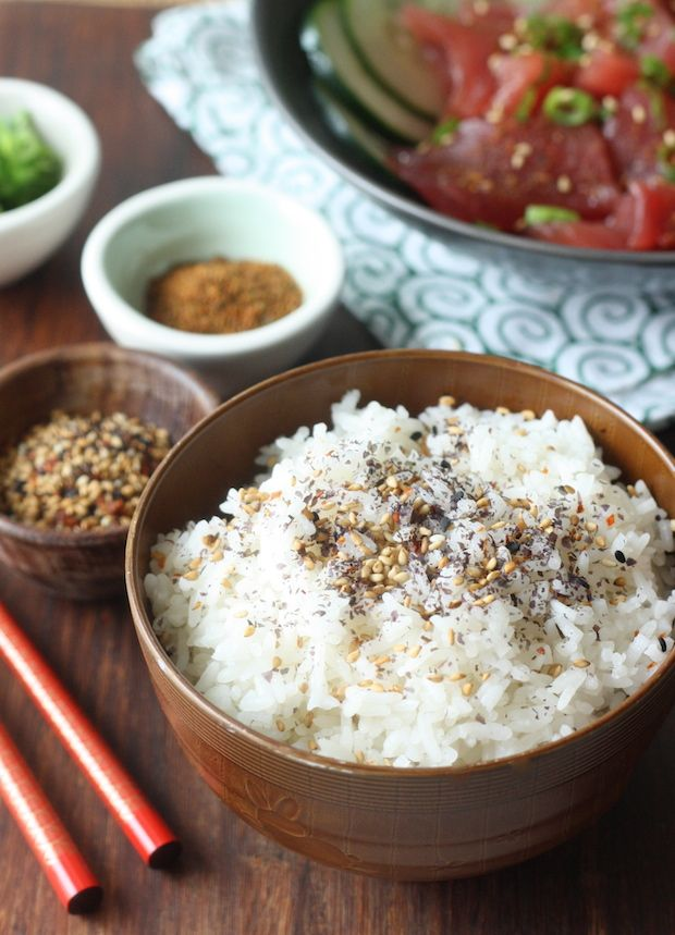 Rice topped with Japanese Sesame Seasoning by SeasonWithSpice.com