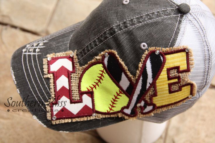 Shabby Chic, Embroidery patch Softball LOVE, Burlap, bling embellished, Maroon, yellow (gold) Gray distressed Trucker mesh back hat by SouthernBlissLC on Etsy https://www.etsy.com/listing/223742804/shabby-chic-embroidery-patch-softball
