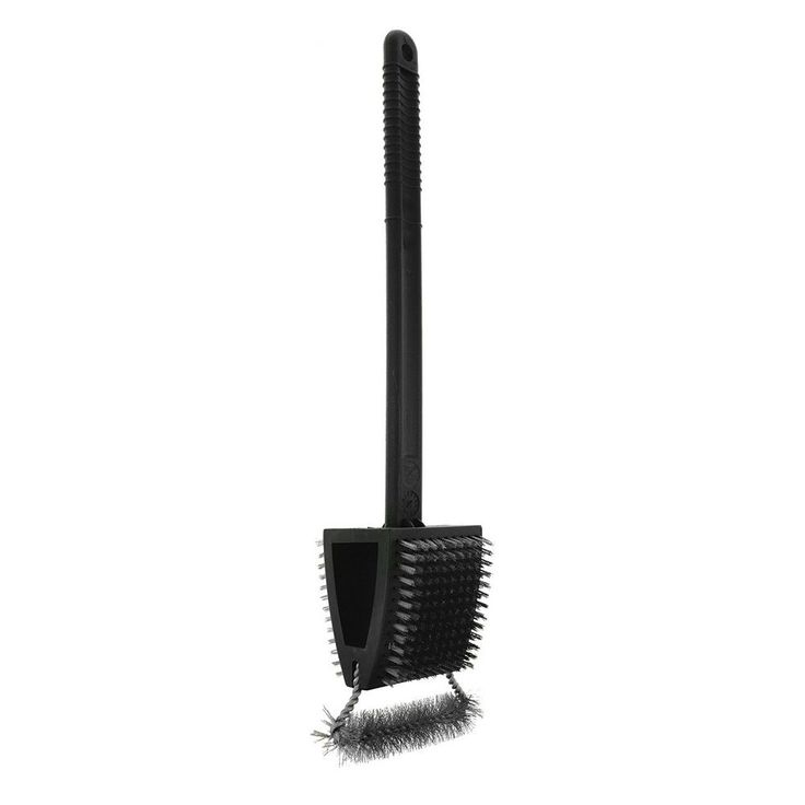 Mr. Bar-B-Q Triple Action Dual Bristle Grill Brush, Black