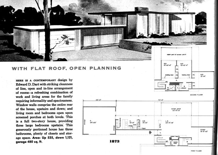 Vintage Architecture Mid Century Style Floor Plans House Architectural Drawings Floors Artworks Blueprints For Homes