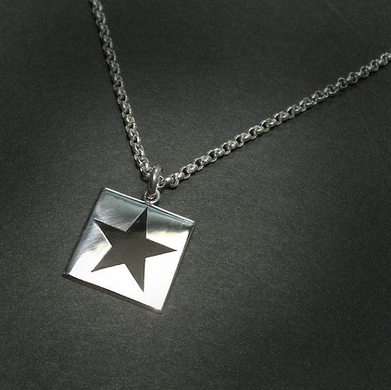 BLACK STAR Polished SILVER Square Pendant