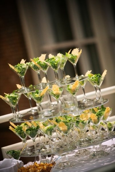 Caesar salad in martini glasses at our wedding.  Photo by All Dressed Up Photography.