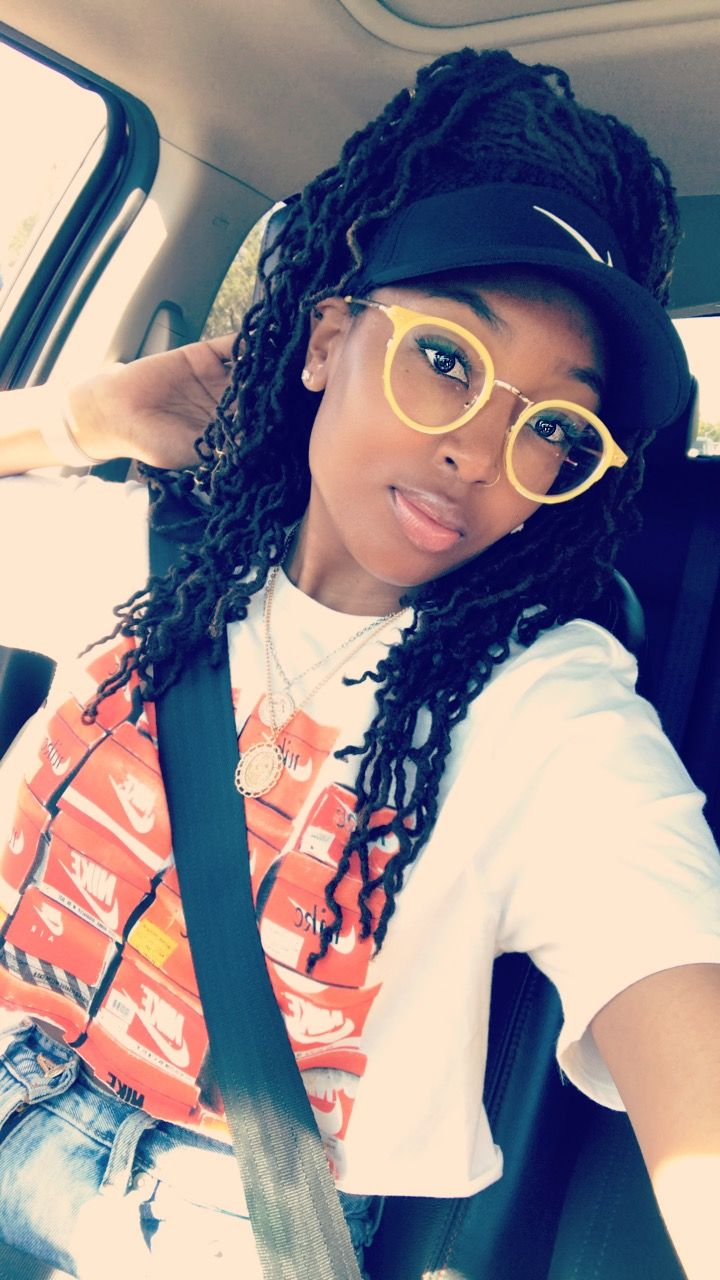 Girls with glasses Long Locs Locs Girls with Locs Sun visor Nike T-shirt  outfit Girls with dreads Pretty girl Locs with hats Yellow Glasses Natural  Beauty ... 8115ea98c54