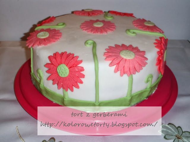 tort z gerberami