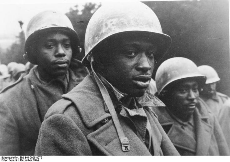 Battle of the Bulge December 1944 Black Soldiers being held as Prisoners of War by the Nazi forces.