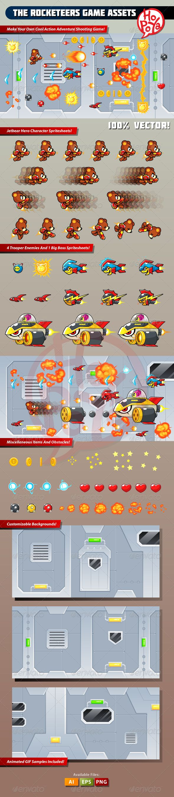 The Rocketeers Game Assets - Sprites Game Assets | DOWNLOAD: https://graphicriver.net/item/the-rocketeers-game-assets/7764101?ref=sinzo