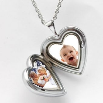 Two-Tone Silver Heart Locket Necklace #MothersDay