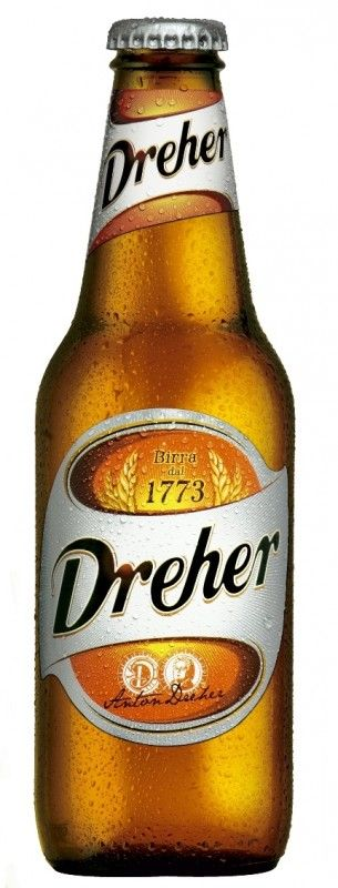 Cerveja Dreher Birra, estilo Standard American Lager, produzida por Dreher Sörgyár, Itália. 4.7% ABV de álcool.