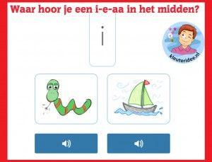 Waar hoor je een i,e,aa in het midden van het woord, taal voor kleuters op digibord of computer  op kleuteridee.nl