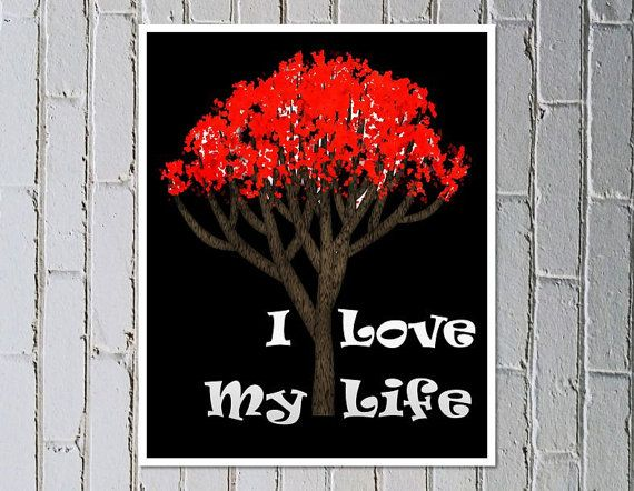 Inspirational poster digital download print red tree of life - Made by Gia $4.50 #madebygia #etsyau #ilovemylife #redtree #tree #inspirationalprint #instantart