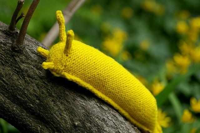 DIY Banana Slug by kathrynivy.com. Adapted from pattern by Hansi Singh here: http://www.ravelry.com/patterns/library/garden-snail  #DIY #Banana_Slug #kathrynivy #Hansi_Singh